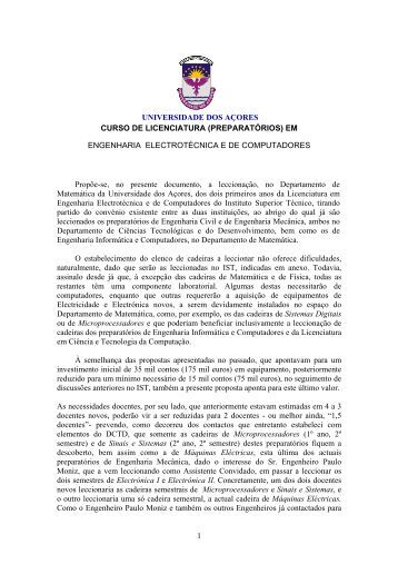 Proposta de criao dos preparatrios de Engenharia Electrotcnica e ...