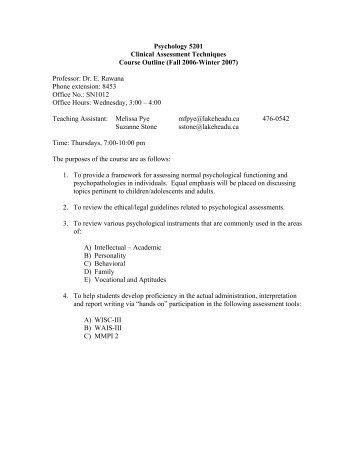 Psychology 5201 Clinical Assessment Techniques Course Outline ...