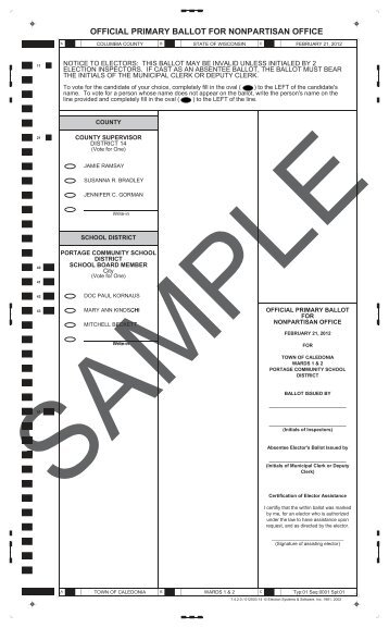 official primary ballot for nonpartisan office - Columbia County