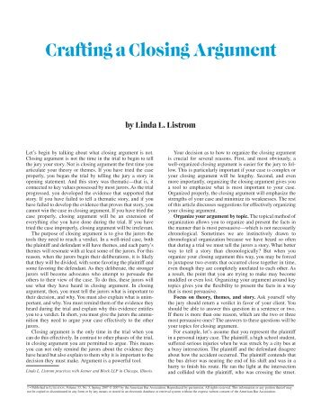 Closing Argument Article ABA
