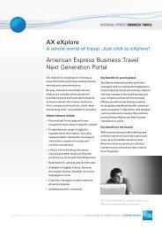 American Express Business Travel Next Generation Portal AX eXplore