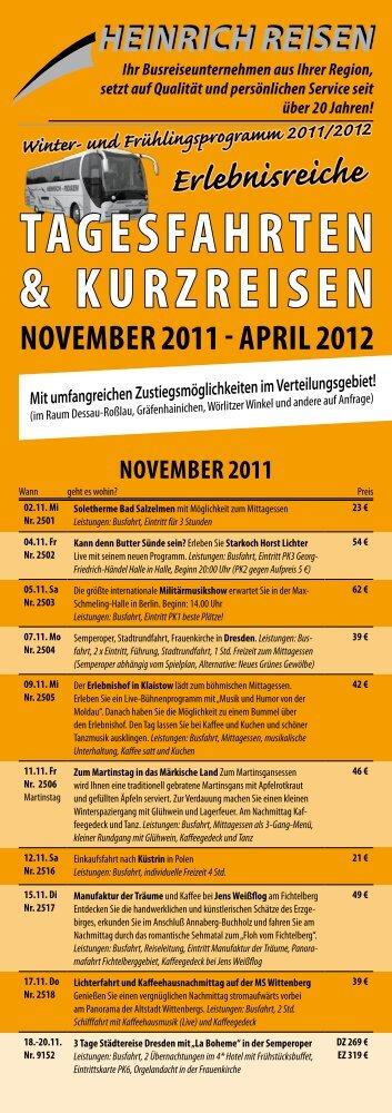 Erlebnisreiche TageSFaHrTeN & KurZreiSeN November 2011