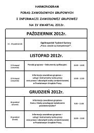 Harmonogram IV kwartał 2012 roku