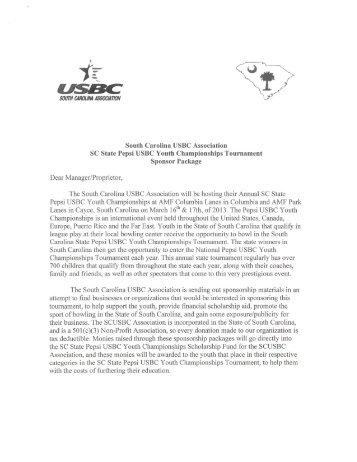 Sponsorship Packet - the SCUSBC