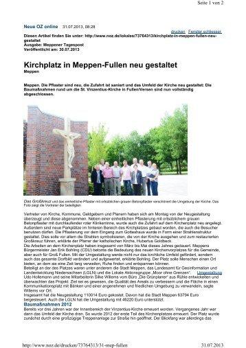 Kirchplatz in Meppen-Fullen neu gestaltet - Naturpark Bourtanger ...