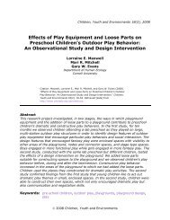 Effects of Play Equipment and Loose Parts on Preschool Children's ...