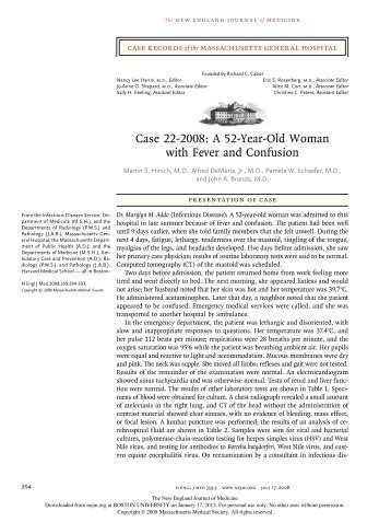 Case 22-2008: A 52-Year-Old Woman with Fever and ... - Bu-eh.org