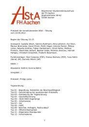 1 Allgemeiner Studierendenausschuss der FH Aachen ...