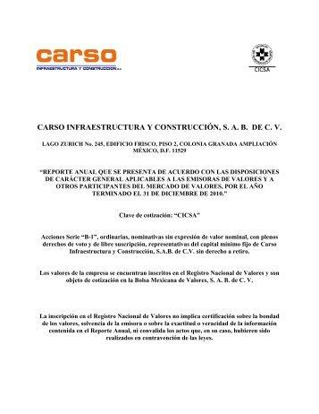 carso infraestructura y construcción, sab de cv - Bolsa Mexicana de ...