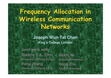 Frequency Allocation in Wireless Communication Networks