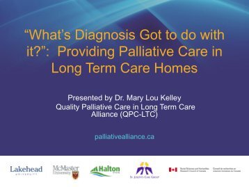 What's Diagnosis Got to do with it? - Quality Palliative Care in Long ...