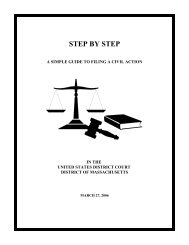 Step by Step Guide to Filing a Civil Action - District of Massachusetts
