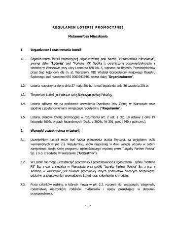 """Regulamin loterii promocyjnej """"Metamorfoza ... - Fortuna PS logo"""