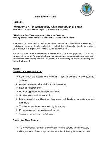 Homework Policy - Sunderland Learning Hub