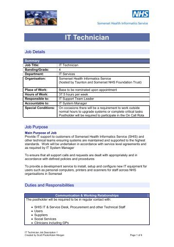 IT Technician Job Description - Workforce and Education