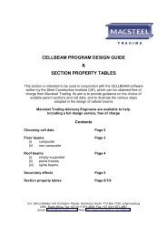 Cellular Beam Section Property Tables - Macsteel