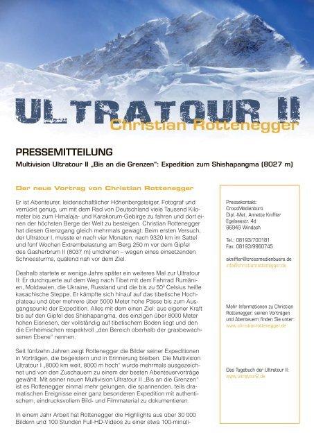"""Pressemitteilung Multivision Ultratour II """"Bis an die Grenzen"""" als ..."""