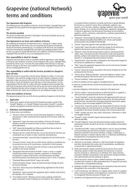 Grapevine (national Network) terms and conditions