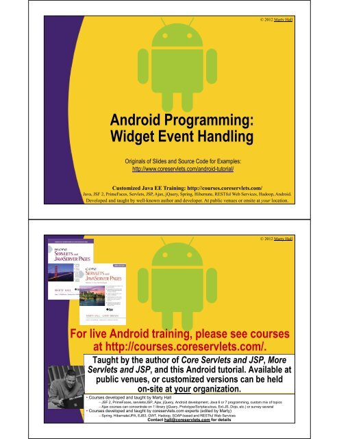 Android Programming: Widget Event Handling - Custom Training