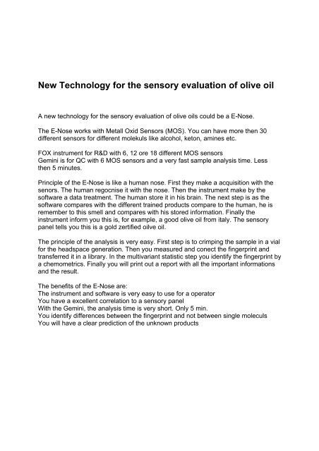New Technology for the sensory evaluation of olive oil
