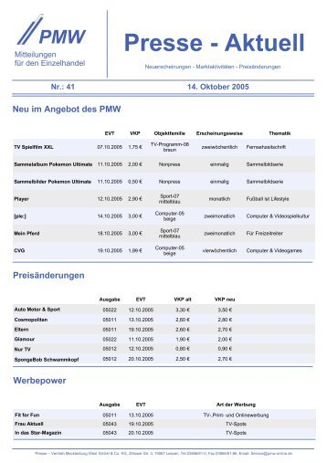 Presse - Aktuell - Presse-Vertrieb Mecklenburg West