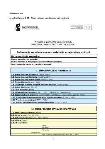 Wniosek o dofinansowanie projektu - wup rzeszow.pl