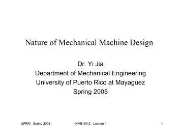 Nature of Mechanical Machine Design - Mechanical Engineering ...