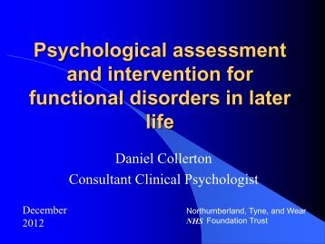 Psychological Assessment and Intervention in ... - Northern Deanery