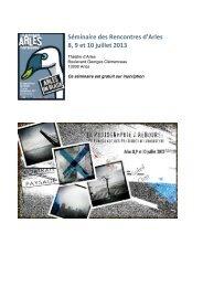 Séminaire des Rencontres d'Arles 8, 9 et 10 juillet 2013 - Injep