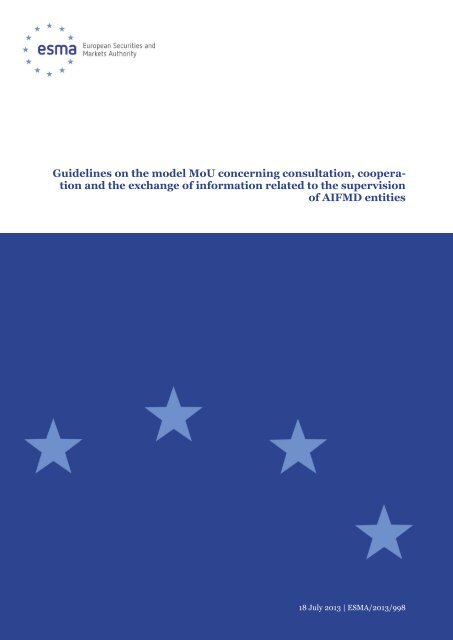 Guidelines on the model MoU concerning ... - Esma - Europa