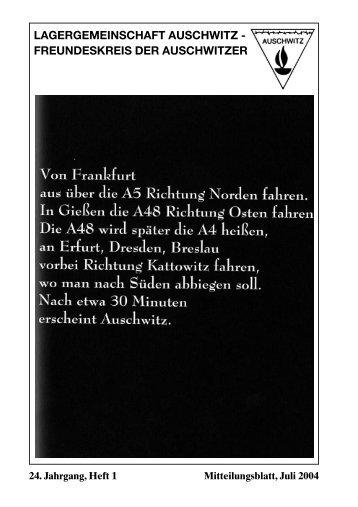 Ausgabe 1/2004 - Lagergemeinschaft Auschwitz