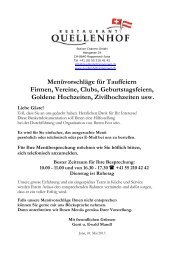Bankette/Menüvorschläge - Restaurant Quellenhof