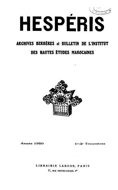 Archives Berbãˆres Et Bulletin De Linstitut Des Hautes