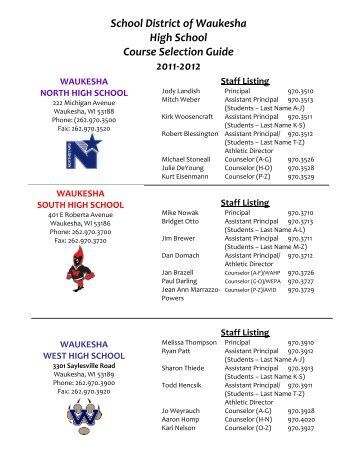 School District of Waukesha High School Course Selection Guide ...