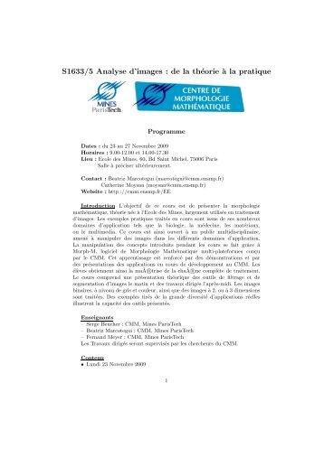 Programme - Centre de Morphologie Mathématique - MINES ...