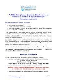 Modalités d'inscription aux Epreuves de Sélection en vue de l ...