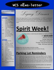 Parking Lot Reminders WCS nEws-letter - Western Christian Schools
