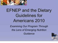 EFNEP and the Dietary Guidelines for Americans 2010 Examining ...