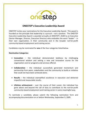 Nomination Process for ONESTEP's Executive Leadership Award