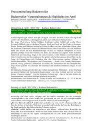 Pressemitteilung Badenweiler Badenweiler Veranstaltungen ...