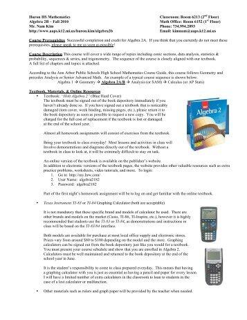 alg2b info sheet (fall 2010) - Ann Arbor Public Schools