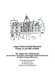 Junge Talente im Hotel Römerbad Freitag, 25. Juli 2008, 18.00Uhr