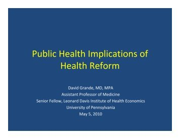 presentation - Center for Public Health Initiatives - University of ...
