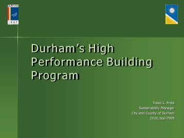 Durham's High Performance Building Program - NC Project Green