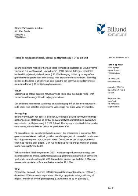 Tillæg til miljøgodkendelse af Billund ... - Billund Kommune
