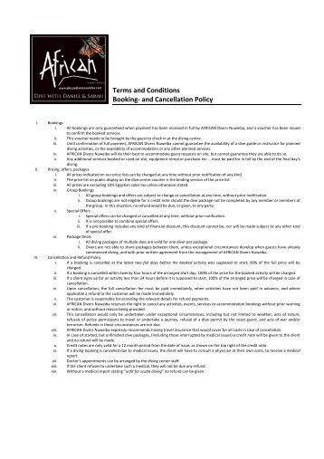 Terms & Conditions - AFRICAN Divers Nuweiba