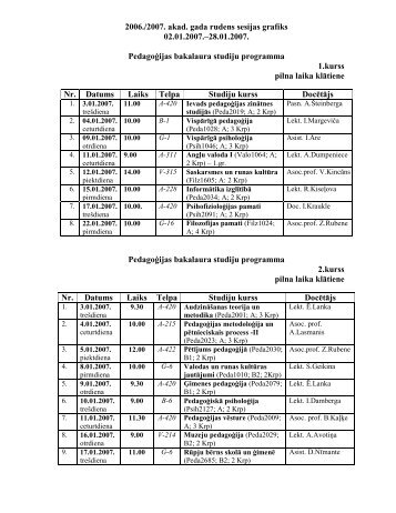 2006./2007. akad. gada rudens sesijas grafiks 02.01.2007.–28.01 ...