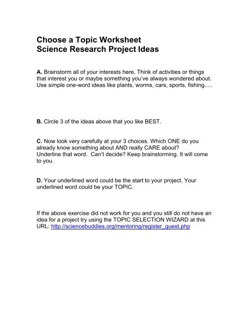 Choose a Topic Worksheet Science Research Project Ideas
