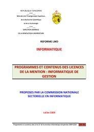 Licence Appliquée en Informatique de Gestion - Ministère de l ...