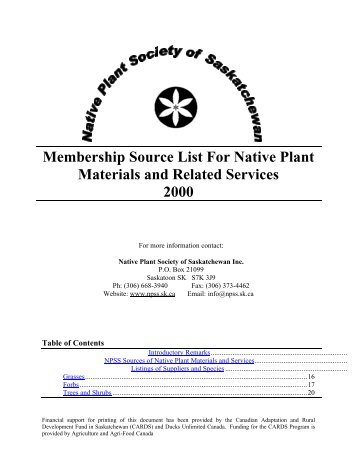 Membership Source List For Native Plant Materials and Related ...